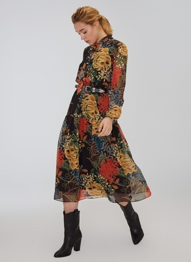 People By Fabrika Bağlama Detaylı Desenli Elbise Siyah